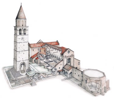 Aquileia - model showing the layout of Basilica, Bell Tower and adjoining Baptistery
