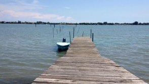 A typical wooden jetty for mooring boats