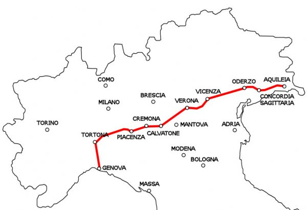 Via Postumia - very important strategic road in Northern Italy