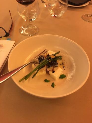 Mozzarella with oily fish and seasonal wild asparagus