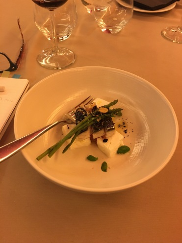 Mozzarella with oily fish and seasonal wild asparagus
