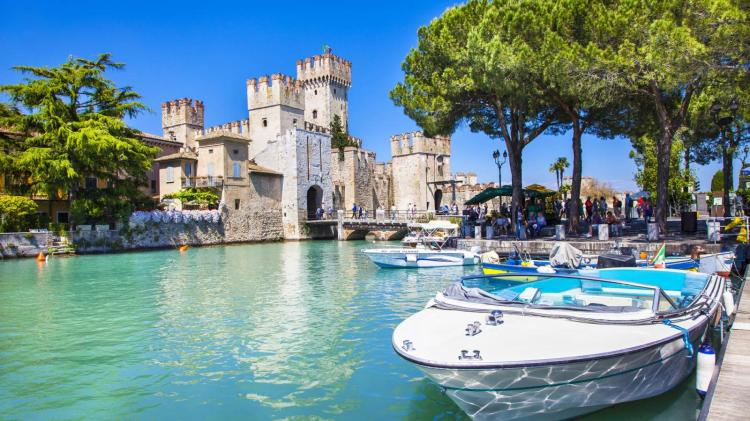 The Castle of the Scaligieri dominates the small medieval town of Sirmione, Lake Garda, Italy
