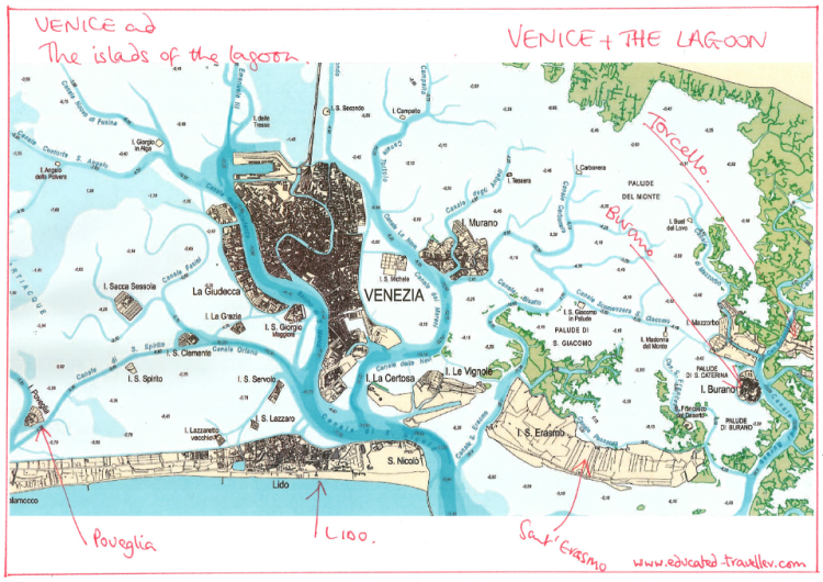 Venetian Lagoon - showing channels, islands and the courses of the rivers that feed into the lagoon. www.educated-traveller.com
