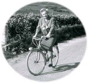 Lily Boillinger on her bicycle