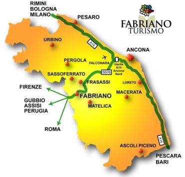 Fabriano is in the Italian region of Le Marche. Ancona was an important port in Greek and Roman times.