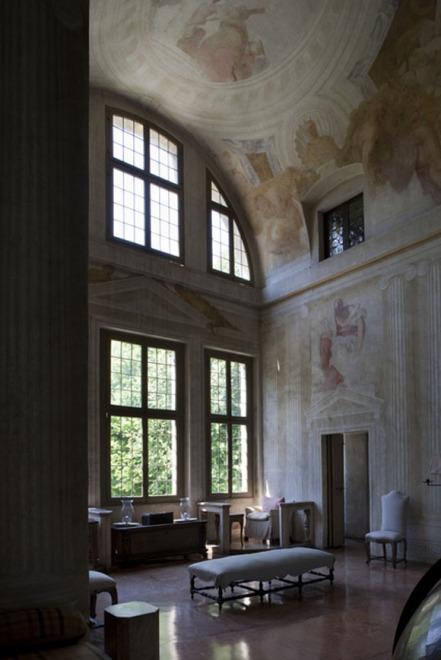 Villa Foscari - interior shot showing frescoes and demi-lunette windows