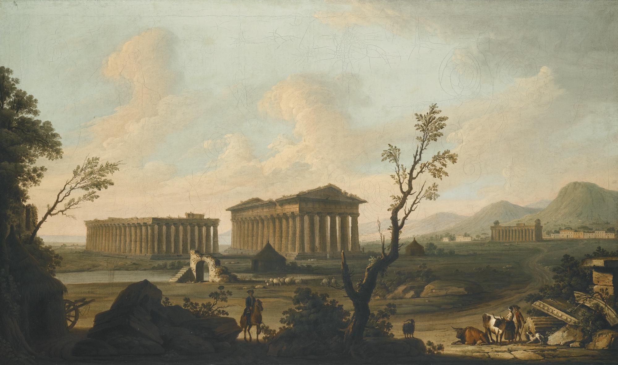 Paestum - temple view c.1760 Pietro Fabris