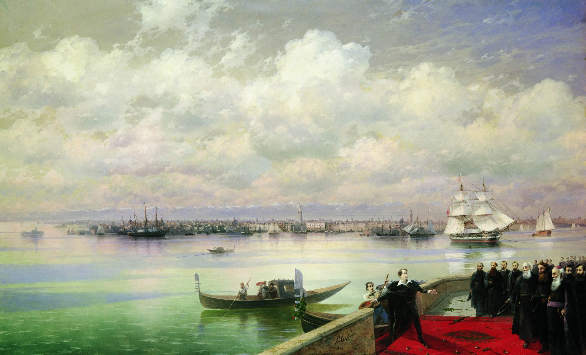 This impossibly romantic image of Lord Byron (poet) arriving on the Venetian island of San Lazzaro to be welcomed by the Armenian community there (Painting 1890s)