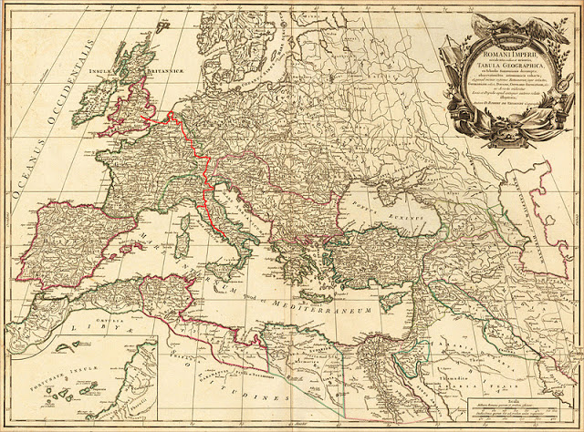 Grand Tour - historic map showing a possible route from England through France across the Alps and down into Italy (marked in red).
