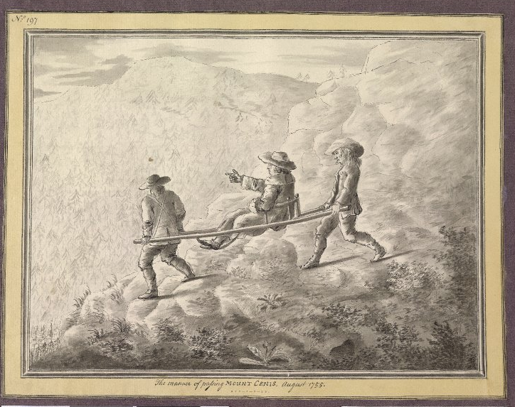 GT - Sir William Watkins crosses the Alps in a sedan chair
