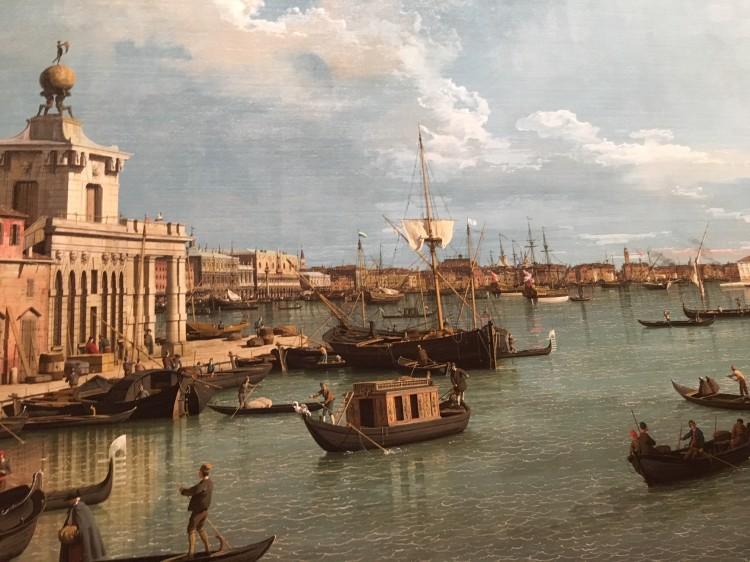 This painting by Canaletto, shows the Punta Dogana (Customs Point) & a Burchiello type craft being rowed by two men