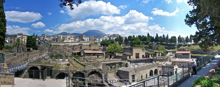 Herculaneum - the excavated area today with Vesuvius in the background