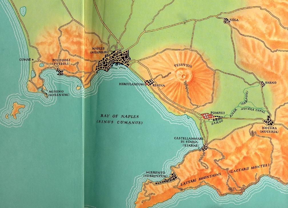 A relief map from 1963 showing Naples, Vesuvius and Pompeii - Amalfi Peninsula and Sorrento to the south.