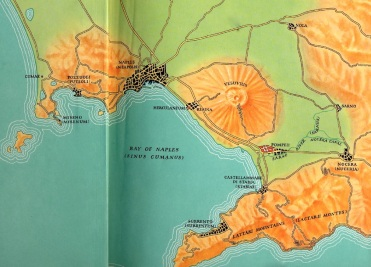 A relief map from 1963 showing Naples, Vesuvius and Pompeii - Amalfi Peninsula to the south