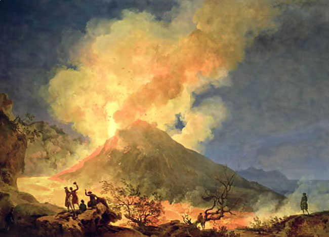 Vesuvius erupting in c. 1780 - the Grand Tourists flocked to see the nightly pyrotechnics
