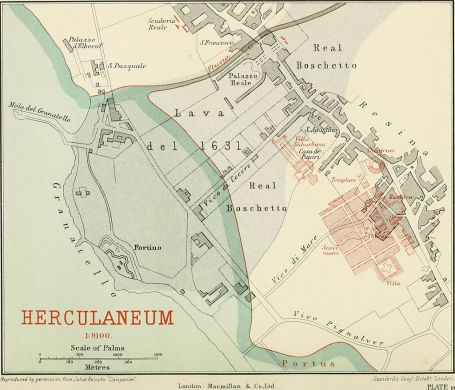 Map of Herculaneum and excavated areas (1908)