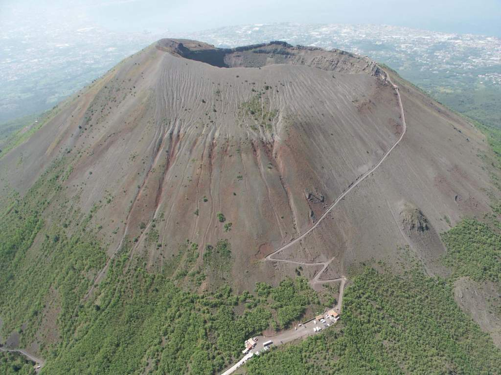 The barren crater of Vesuvius today - with the suburbs of Naples in the background