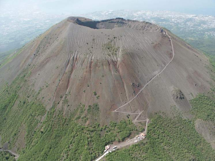 The barren crater of Vesuvius today
