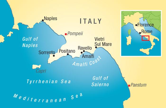 Bay of Naples, showing Napoli, Paestum, Sorrento, Amalfi
