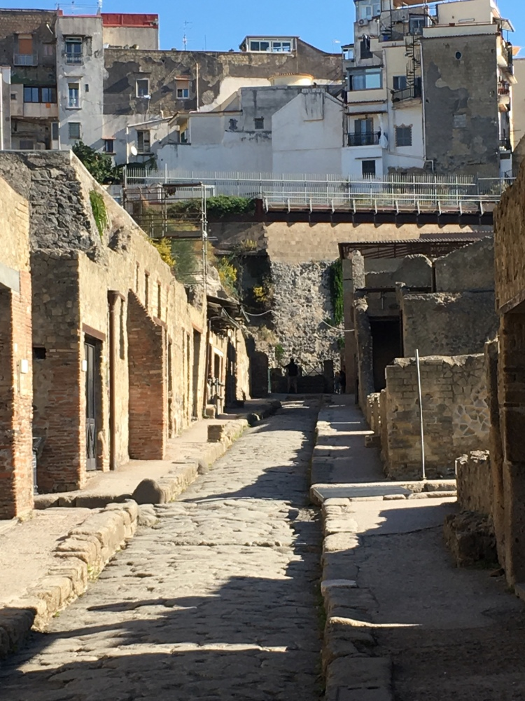 Herculaneum - the principle street, with raised pavements on either side.