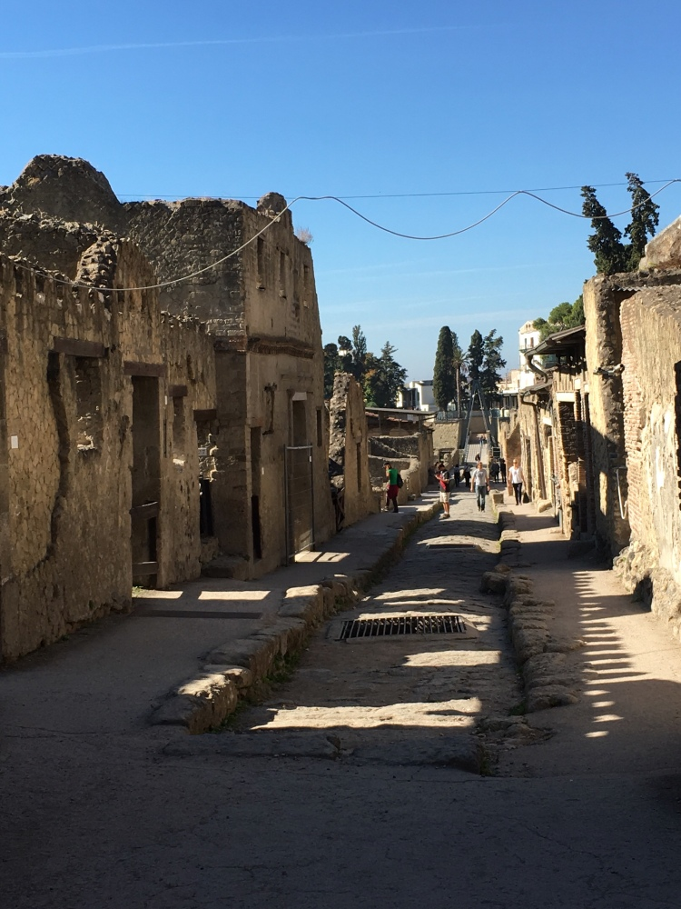 Herculaneum - street scene, with houses on both sides