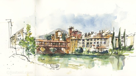Liz Steel's sketch of Ponte degli Alpini, Bassano