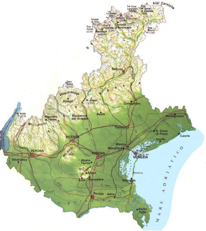 Map of the Veneto - North-Eastern Italy