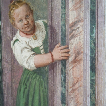 Villa Barbaro, Maser - a curious child peeps round a door, Veronese (1560s)