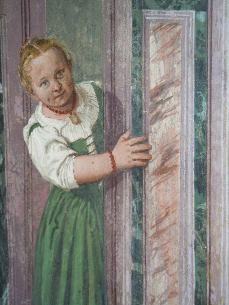 Villa Barbaro, Maser - a curious child peeps round a door, Veronese (1560s)