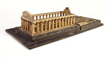 Cork model of Paestum, Basilica Temple by Domenico Padiglione c.1820