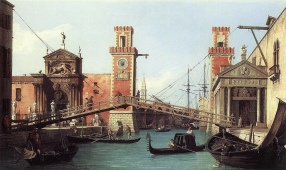 Canaletto - entry to the 'Arsenale' ship-building yard of Venice