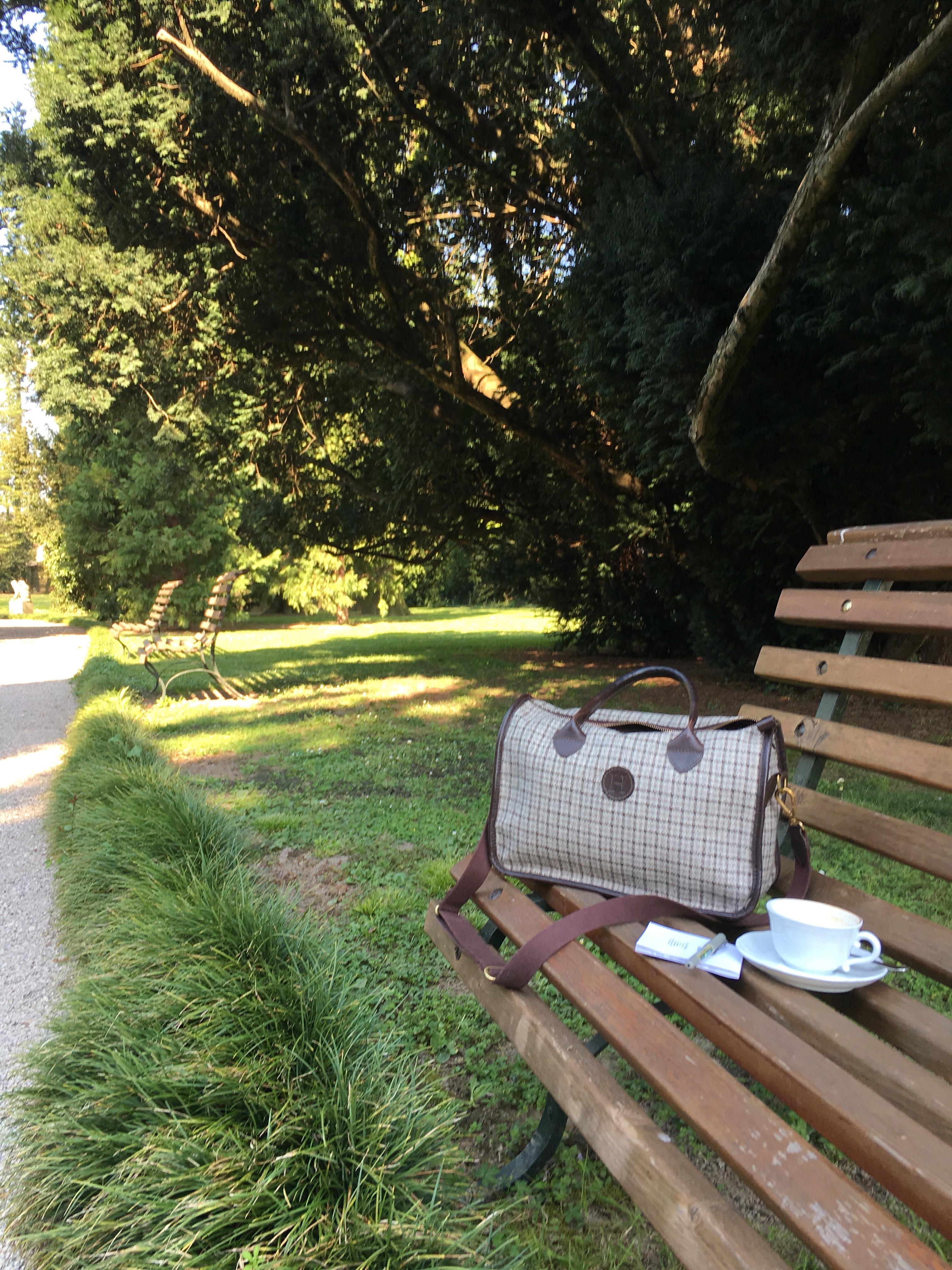 The Herdwick Handbag - hard at work in the Veneto, Villa Franceschi Garden - April 2017