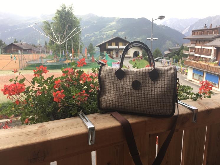 Herdwick Tweed Hand Bag - relaxing in Verbier, Switzerland, August 2017