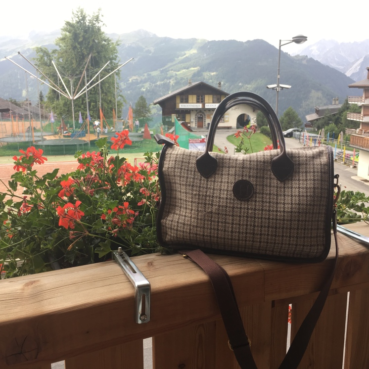 Herdwick Tweed Hand Bag - relaxing in Verbier, Switzerland, August 2017