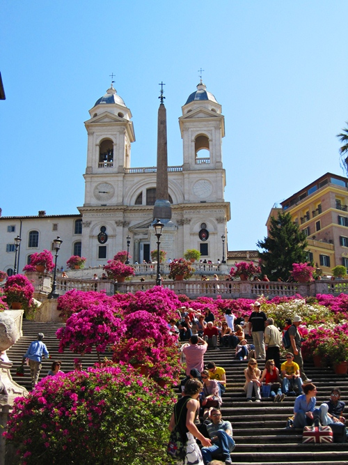 Rome - Spanish Steps - flowers and Church of Trinita dei Monti