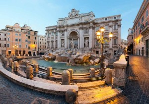 The Trevi Fountain is a masterpiece of theatre, dramatic, elegant, over-the-top - Baroque design of Nicola Salvi (1762)