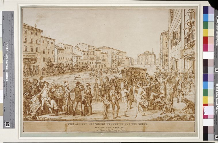 A hapless British Tourist arrives in Piazza di Spagna, 18th century - Royal Collection, London