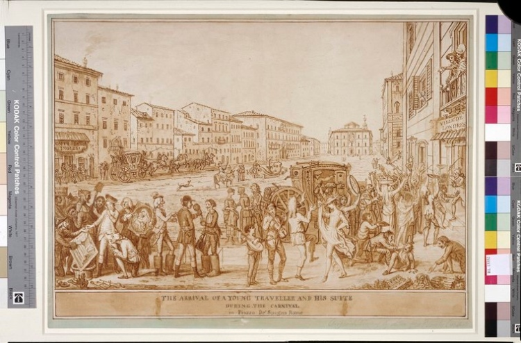A young traveller arrives in Rome, Piazza di Spagna - 18th century, Royal Collection, London