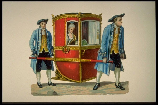 The sedan chair ensured that the occupant avoided contact with the ground outside - which could be dirty, slippery and potentially ruinous for one's expensive gown!