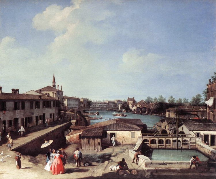 Canaletto's - The Mill at Dolo, on the Brenta. c.1740