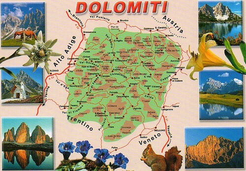 Dolomites - postcard c. 1974 - shows clearly the extent of the Dolomite mountain range!