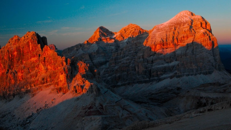 The effect of l'enrosadira on the Tofana di Rozes, Dolomites, Italy