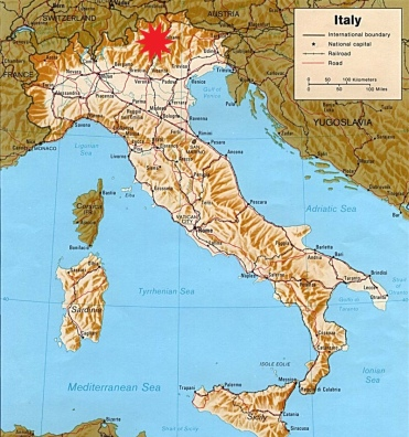 Italy - this map of Italy shows the Dolomites, top centre of the map, marked with a red star.