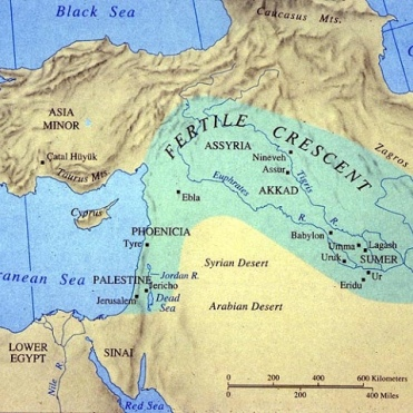 Mesopotamia, The Fertile Crescent runs from the Persian Gulf to the Mediterranean Sea. It was the site of the earliest permanent settlements in the Middle East
