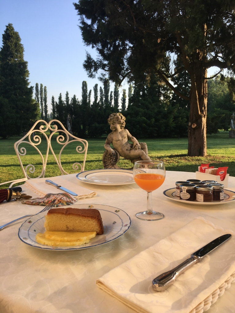Alfresco breakfast on the Brenta, near Venice - join our Writer's Retreat here in September 2020