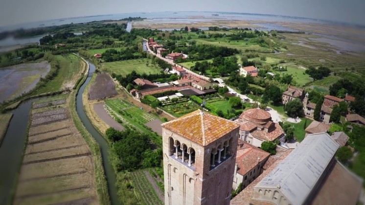 Torcello - panoramic view towards Locanda Cipriani - Bell tower in the foreground