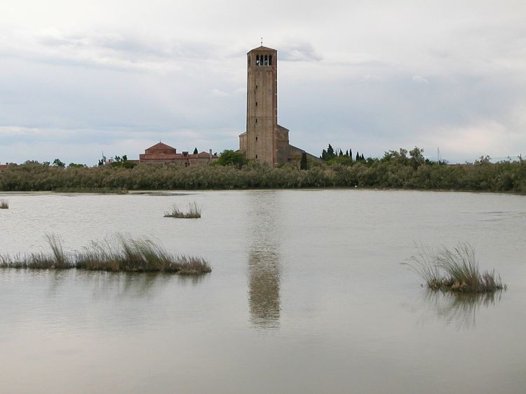 Torcello - in its watery setting - the bell tower of Santa Maria Assunta dominates the northern lagoon
