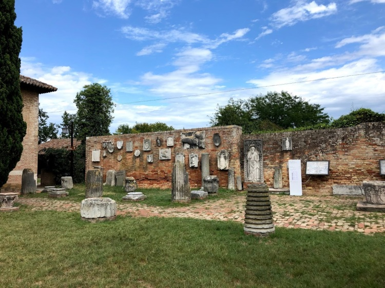 Torcello - the piazza with it's Roman statues and pillars mostly brought from Altinum as the Roman Empire disintegrated