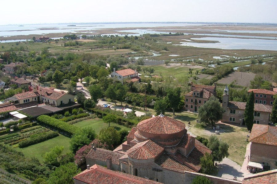Torcello - view from bell tower with panoramic views across the lagoon