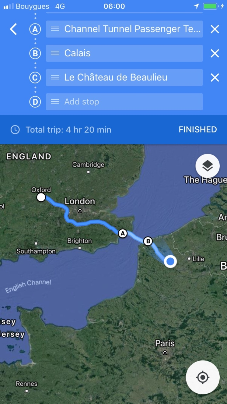 From Oxford to Northern France via Channel Tunnel